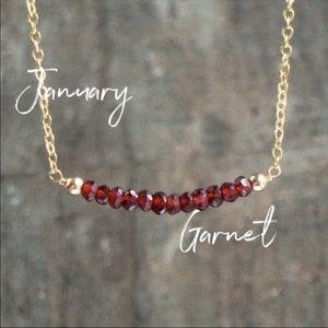 Red Garnet Gemstone Crystal 14k Gold Bar Necklace